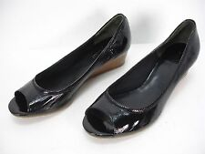 COLE HAAN NIKE AIR BLACK PATENT LEATHER WEDGES PEEP TOE SHOES WOMEN'S 8.5 B MINT