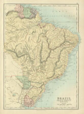 Brazil, Uruguay, Paraguay & Guayana. Guyanas. BARTHOLOMEW 1882 old antique map