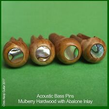 Mulberry Hardwood with Abalone Inlay Acoustic Bass Guitar Bridge Pins. PP047