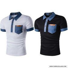 Mens Short Sleeve Slim Fit Light Color Leather Chest Pocket Polo Casual Shirts