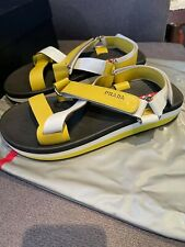 PRADA SANDALS SHOES 4x2380 White Yellow Leather NEW 9 43