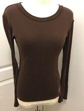 Lucky Brand Knit Wear 100% Cotton Women's Long Sleeve Henley Brown Top Shirt L