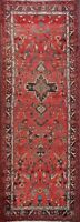 Vintage RED Geometric 9 ft Runner Lilian Hamedan Rug Hand-made Wool 8' 9 x 3' 7""