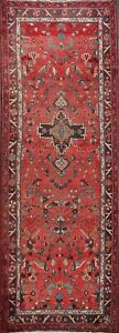 "Vintage RED Geometric 9 ft Runner Lilian Hamedan Rug Hand-made Wool 8' 9 x 3' 7"""