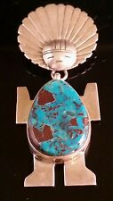 Native American Navajo Apache Blue Turquoise Pendant Signed Walter Vandever