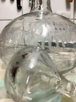 Victorian 'Onion' Shape Hand Blown, Clear Glass Decanter-Hand Engraved Ferns