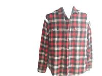 Woolrich Men Button Shirt Medium Flannel Red Buffalo Plaid Long Sleeve Western