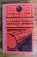 RARE 1er ANNUAIRE DES FABRICANTS ARTICLES DE SPORTS JEUX JOUETS 1929 TENNIS FOOT