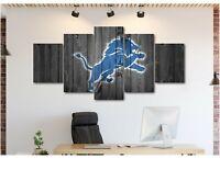 Detroit Lions Logo Canvas Print Wall Art Home Decor
