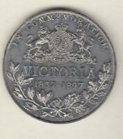 1837- 1897 QUEEN VICTORIA DIAMOND JUBILEE WHITE METAL MEDAL IN GOOD CONDITION.