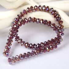 8X6mm Facetten Kristall Glas Perlen AB Lila f. Halskette Armband Armkette