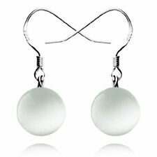 Pretty New 925 Sterling Silver Plated 10mm Opal Ball Hook Dangle Drop Earrings