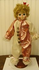 """Adorable Clown Girl W/Porcelain Painted Face With Stand, Music Box 16"""" Tall"""
