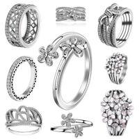 Women's Jewelry European Luxury Zirconia 925 Silver Rings Fit Wedding Party
