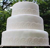 Ivory Lace & Pearls. Wedding Cake Decoration, Topper Set, Vintage Style, Rustic.