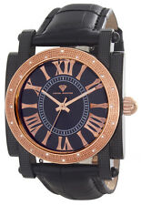 Aqua Master Rose-tone 16 Diamond Bezel Black Dial Men's Leather Band Watch #148