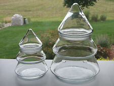 """2 Anchor Hocking Clear Glass Chunky Pine Tree Apothecary Candy Jars 9 1/2"""" & 6"""""""