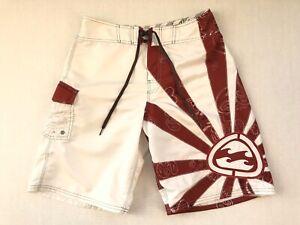 Billabong Rising Sun Board Shorts Mens Size 32 Andy Irons White Red Paisley Rare