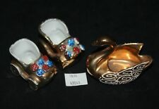 ThriftChi ~ Ceramic Gold Finish Limoges Swan & Baby Buggy's Figurines
