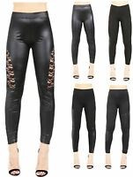 Womens Ladies Pvc Leather High Waist Pu Leggings Wet Look Stretch Trousers Pants