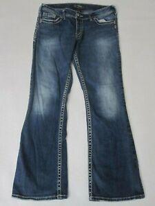 Silver Suki Women's Bootcut Jeans Size 32/32 (32/31)Thick Stitch Medium Wash