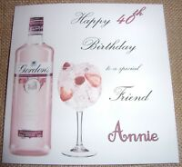 Personalised Pink Gin Birthday Card Any Age 30th 40th 50th 60th Any Age Relation