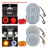 4 Pair Front Rear Red Bullet LED 1157 Turn Signal Light+Cover For HarleyDavidson