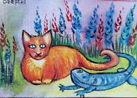 ACEO original miniature painting  Watercolor Art - Orange Cat & Blue Dragon.