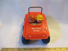 Vintage Fisher Price Little People Bouncing Buggy 1973 Pull Toy Rough Whip Ride