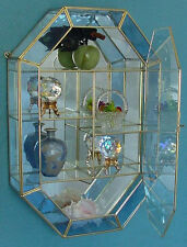 14'' Stained Glass CURIO CABINET with Baby Blue Trim to display Crystal, Vase, +