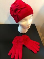 NEW Kate Spade Dorothy Bow Beanie Hat and Gloves Set Red Color