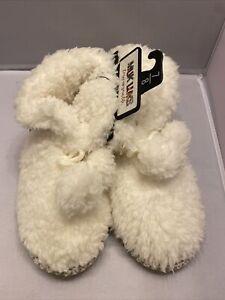 Muk Luks Women Slippers Bootie Ivory Faux Fur