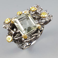 Handmade Natural Green Amethyst 925 Sterling Silver Ring Size 7.75/R120739