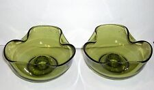 VTG PAIR ANCHOR HOCKING AVOCADO GREEN GLASS TRI FOLD TAPER CANDLE STICK HOLDERS