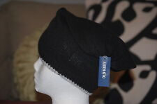 Womens Old Navy Black With Grey Trim Sweater Knit Beanie Hat One Size e8d3a659196e