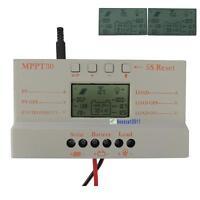 30AMPPT Solar Panel Regulator Battery Charger Controller 12V/24V With LCD USB#BG