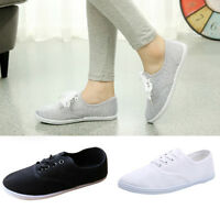 Womens Ladies Canvas Shoes Lace Up Casual Sneakers Flats Shoes Tennis Shoes s