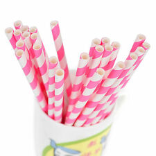 25/50/100pcs Biodegradable Paper Drinking Straws Striped Birthday Party KY
