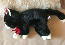 """Ty Beanie Classic Black & White CAT """"BOOTS"""" VGC swing tag 9"""" long + tail"""