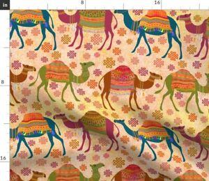 Camel Desert Animal Orange Moroccan Spoonflower Fabric by the Yard