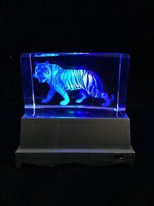 Tiger Full Body  - 3D laser crystal block with LED base