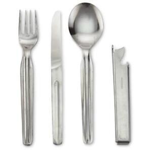 East German Army Cutlery Set/ Eating Utensils Surplus/ 4 Piece Round spoon