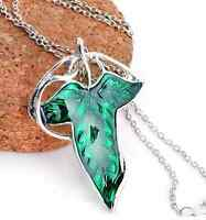 Lord of The Rings Green Leaf Elven Pin Brooch Pendant Chain Necklace Jewelry EY