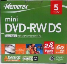 5x MEMOREX MINI DVD-RW DS 8cm DVD 2,8GB 60 Min.