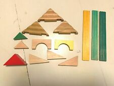 Vintage Wooden Lincoln Logs Replacement Green/Yellow Roof Slats Trusses Parts