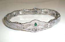 Antique 1920s Diamonds & Emerald White Gold Filigree Bracelet Art Deco, Made USA