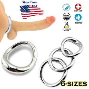 Thick Curved Stainless Steel Cock Ring Penis Enlarger Erection Stay-Hard Sex Toy
