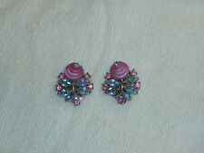 Vintage Crown Trifari Pink Shoebutton Glass AB Rhinestone Clip Earrings EUC Free