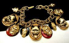 """Rare Vintage 7-1/2""""x1-1/2"""" Signed Florenza Asian Noh Devil Charm Bracelet A35"""