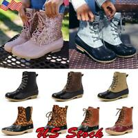 Women Duck Boots Ankle Strap Glitzy Rain Waterproof Snow Winter Boots Shoes Size
